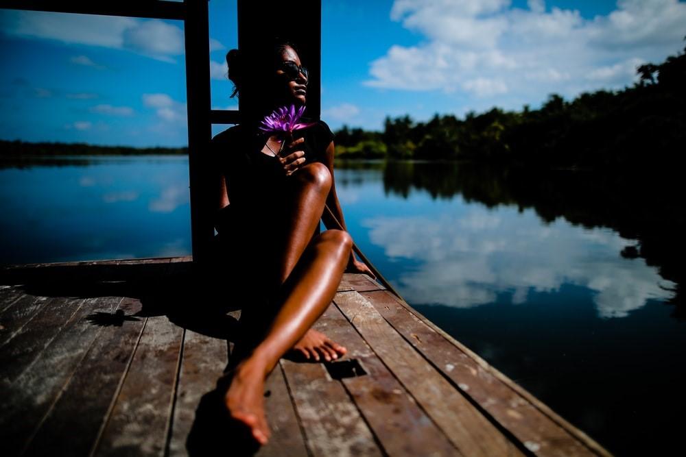 : A woman soaking the sun's rays